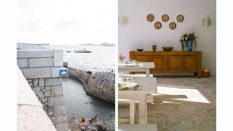 A gauche : À Marseille, on part à la recherche des 83 oeuvres disséminées cet été à travers la ville par le street-artiste Invader. A droite : mobilier upcyclé et matières brutes au Tuba Club, dans l'un des plus typiques villages de Marseille.