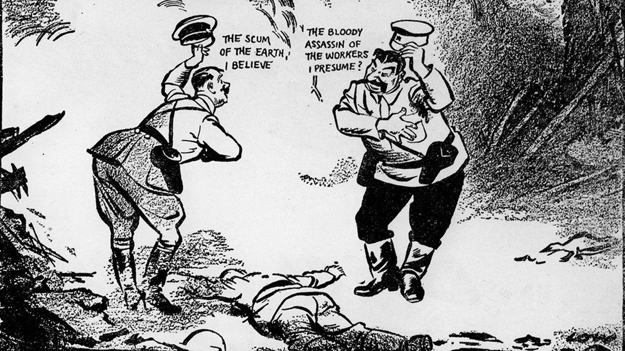 Partage de la Pologne, caricatures d'Hitler et de Staline - dans 'Europe since Versailles', de David Low, New York, 1940.