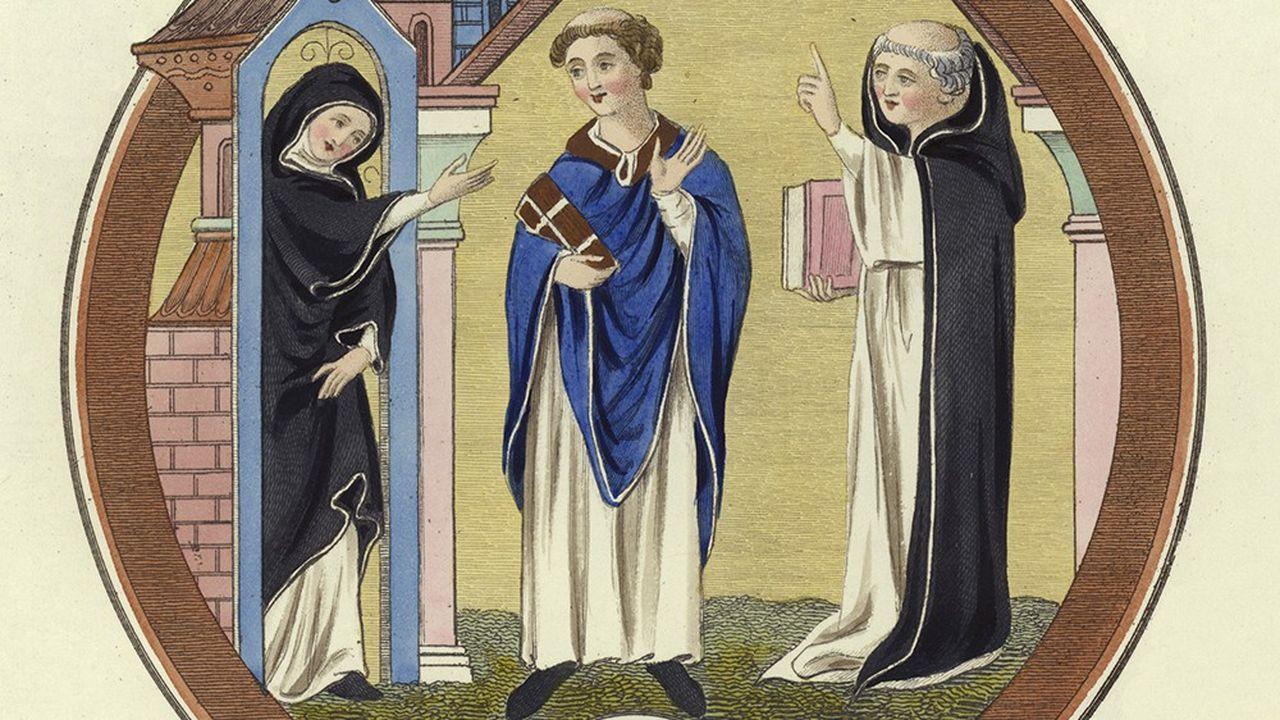 Habits monastiques du XIIe siècle, gravure de l'Ecole anglaise (XIXe siècle).