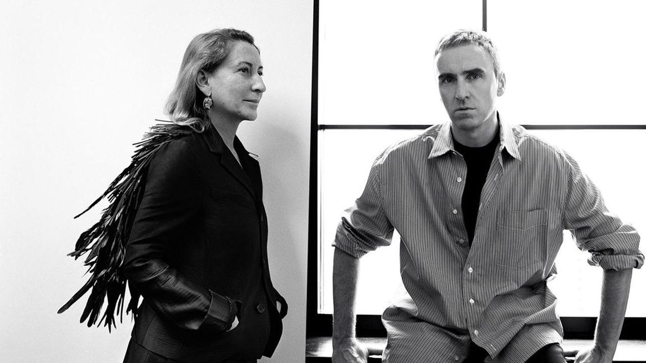 Miuccia Prada et Raf Simons, le nouveau binôme artistique de Prada pour la femme.