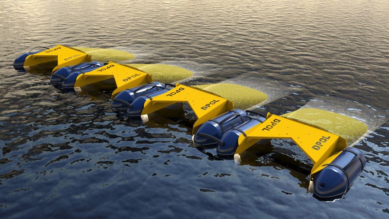 C'est le design particulier du système DPOL qui parvient à créer à l'avant un courant de surface, avalant tout ce qui traîne sur une épaisseur d'eau d'un mètre cinquante.