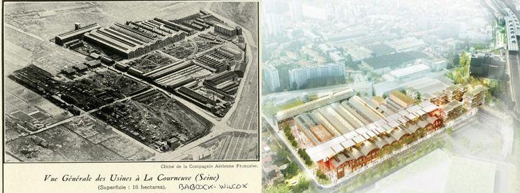 Vue générale du site Babcock et Wilcox en 1930 et projet de réhabilitation «Fabrique des cultures».