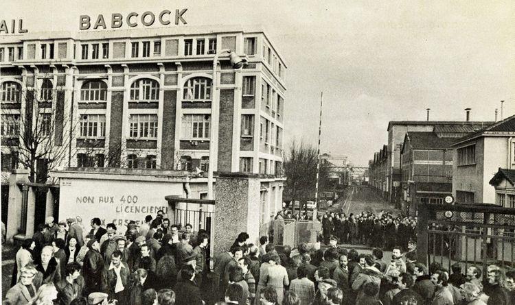 Mobilisation en face des usines Babcock et Wilcox en 1974.