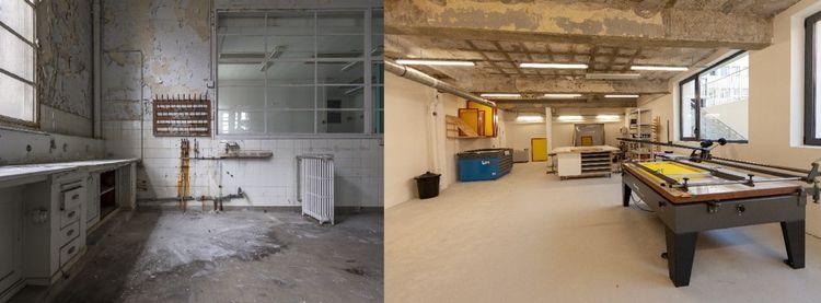 Les anciens labos transformés en espaces de travail.