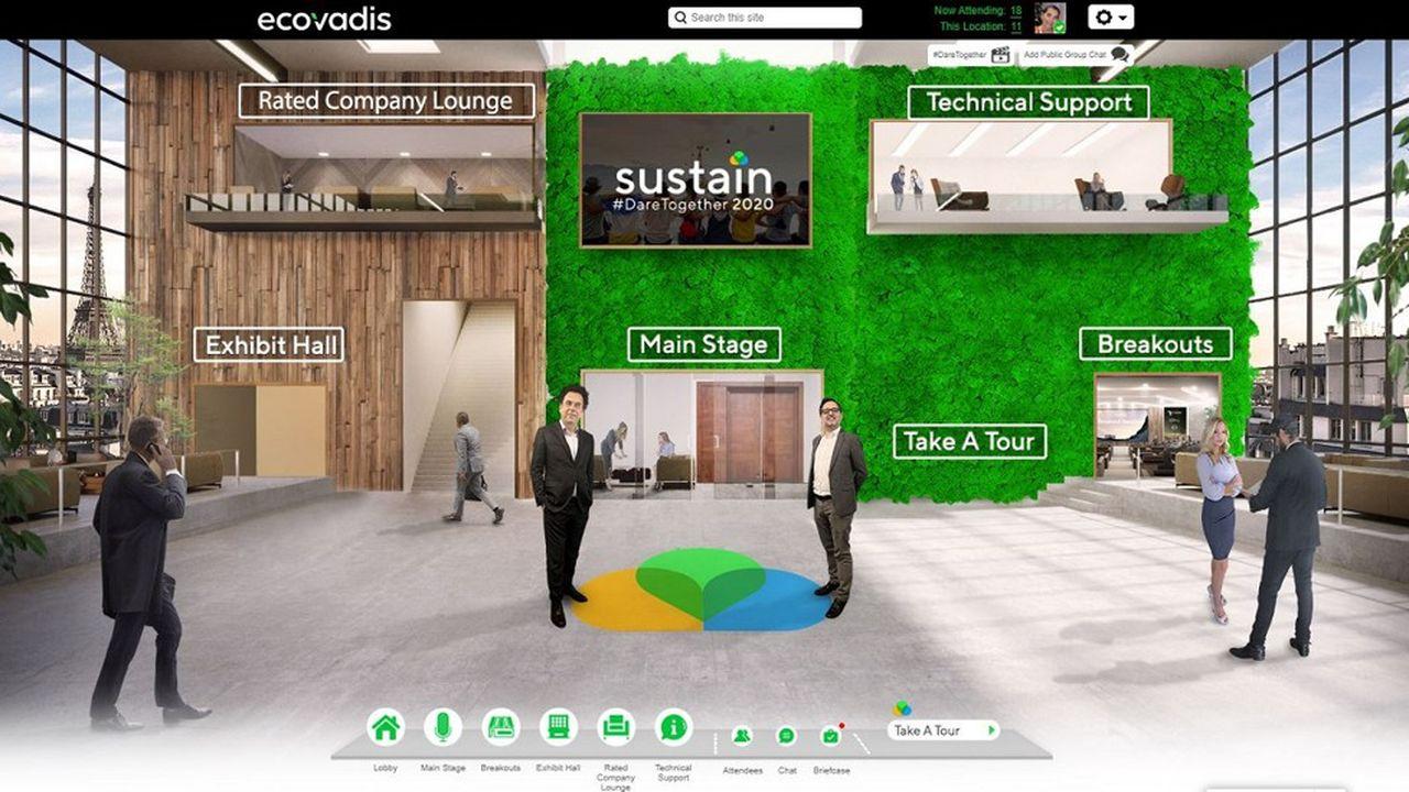 Les participants sont invités à pénétrer dans un lobby où les avatars des deux dirigeants d'EcoVadis les attendent.