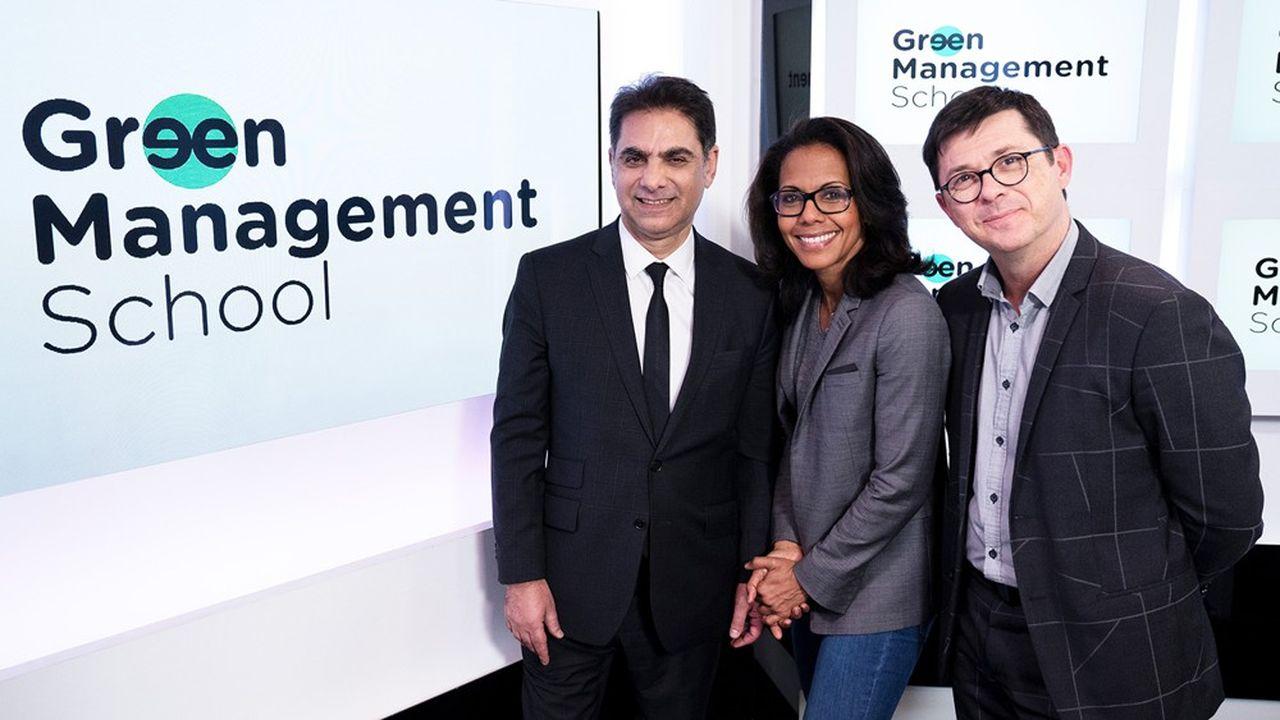 Franck Papazian, Président du Groupe MediaSchool, avec Audrey Pulvar, Directrice Scientifique de Green Management School, et Franck Kerfourn, Directeur de Green Management School.