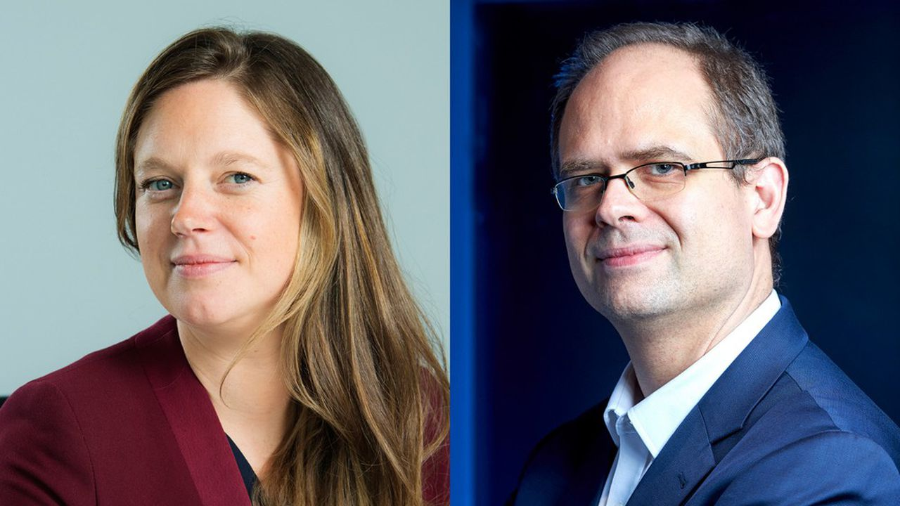 Elise Bert, directrice digital, data, services clients et partenariats d'AXA France, et Laurent Vannimenus, chief data officer de Faurecia.
