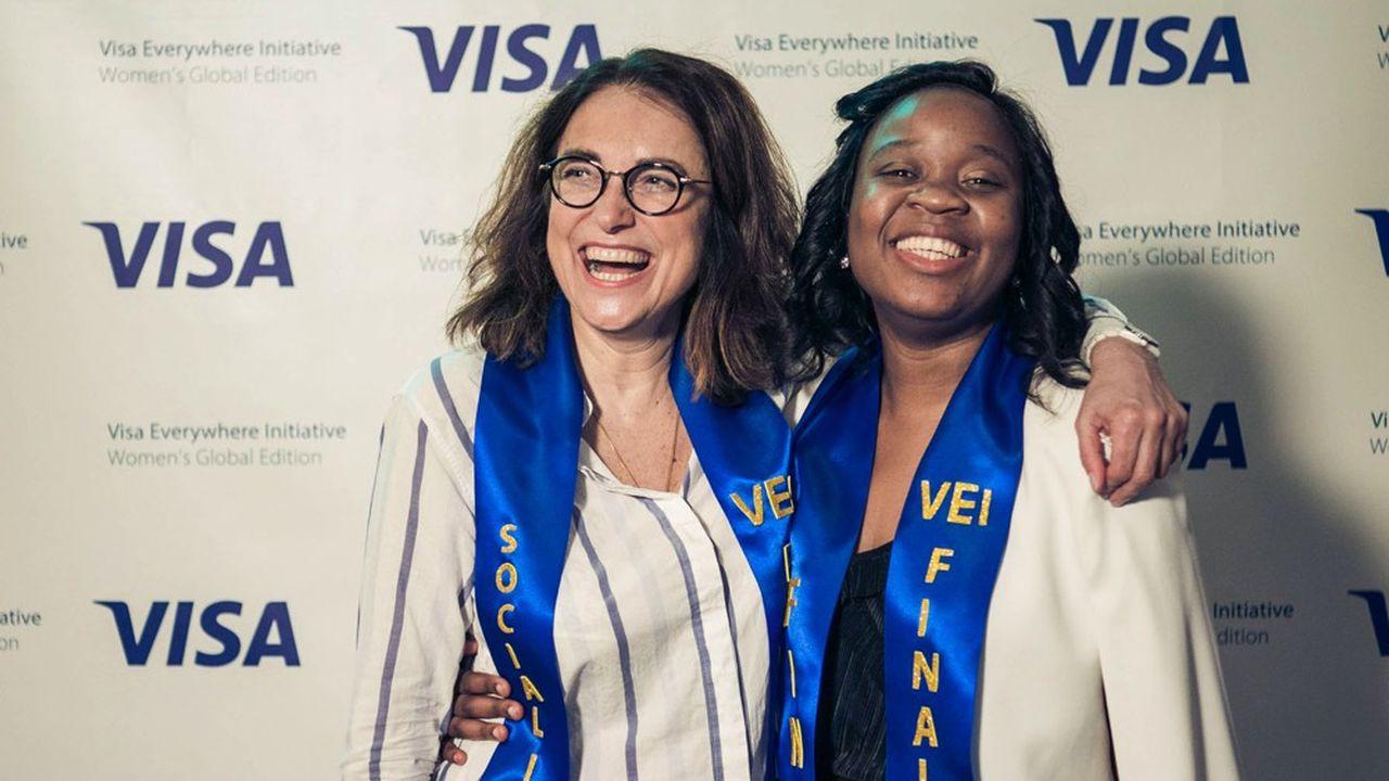 Les deux finalistes françaises du programme Visa Everywhere Initiative 2019: pour la catégorie Fintech Annicelle Kungne (à droite) et sa plate forme de paiement universel WECASHUP et pour la catégorie social impact, Isabelle Mashola et sa start up ISAHIT d'outsourcing de micro-tâches digitales en Afrique.