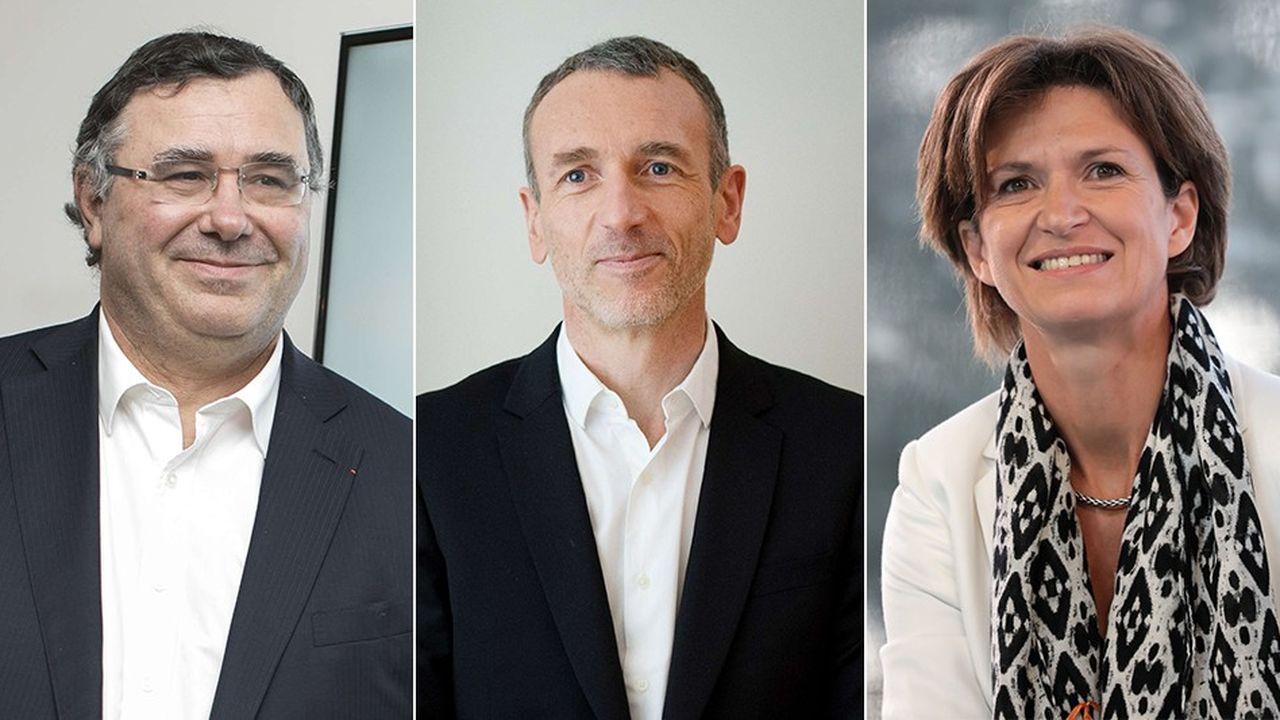 Patrick Pouyanné, le PDG de Total (à droite) prend la tête du premier palmarès du leadership digital établi par l'agence Angie. Suivent Emmanuel Faber, le PDG de Danone et Isabelle Kocher, directrice générale d'Engie.