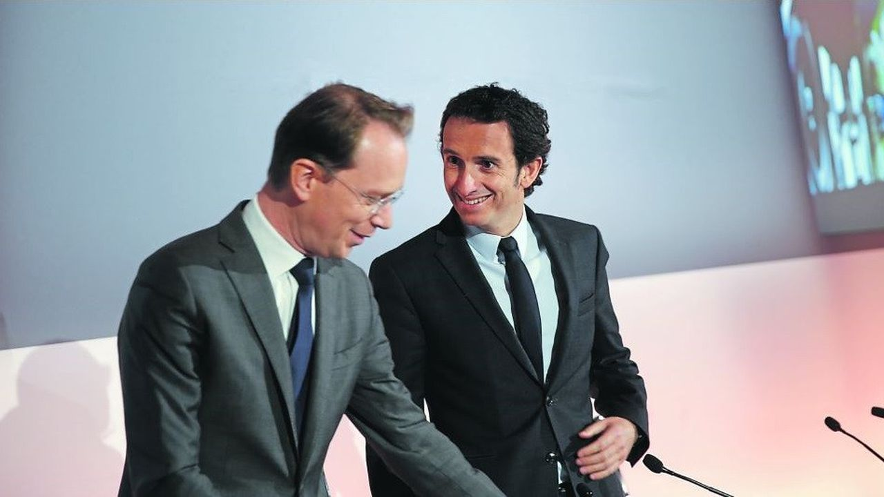Alexandre Bompard, actuel patron de FNAC Darty, prendra la tête de Carrefour le 18 juillet. Il pourrait être tenté d'emmener avec lui son directeur financier, Matthieu Malige (à gauche). A moins que ce dernier ne soit promu à la présidence de FNAC Darty.