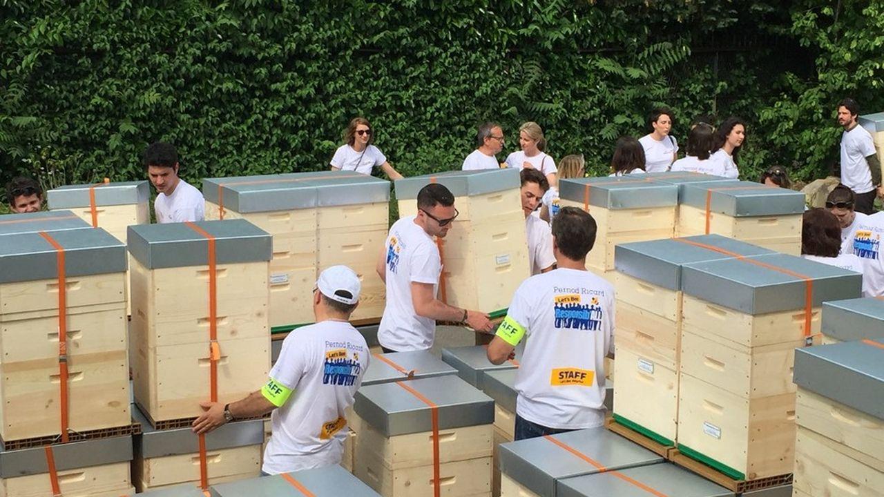 A l'orée du Bois de Boulogne, 400 collaborateurs du siège parisien de Pernod Ricard fabriquent des ruches pour Bee Happy Miel qui s'est fixé pour mission d'implanter des ruchers en milieu urbain.