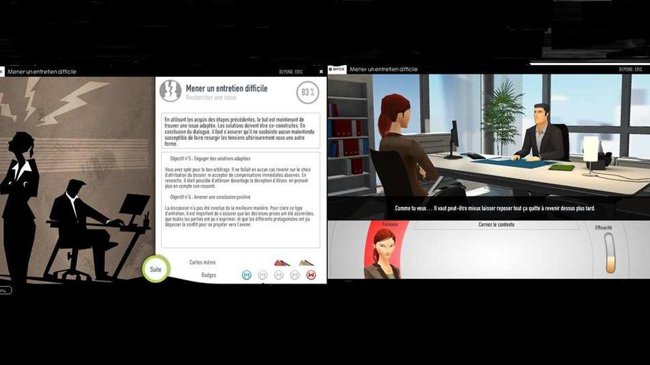 Baptisé « M comme Manager », le « serious game » conçu par Daesign compte plusieurs modules : mener un entretien difficile, gérer son temps de manager, donner du feed-back, apprendre à manager à distance, mener un entretien d'évaluation etc.