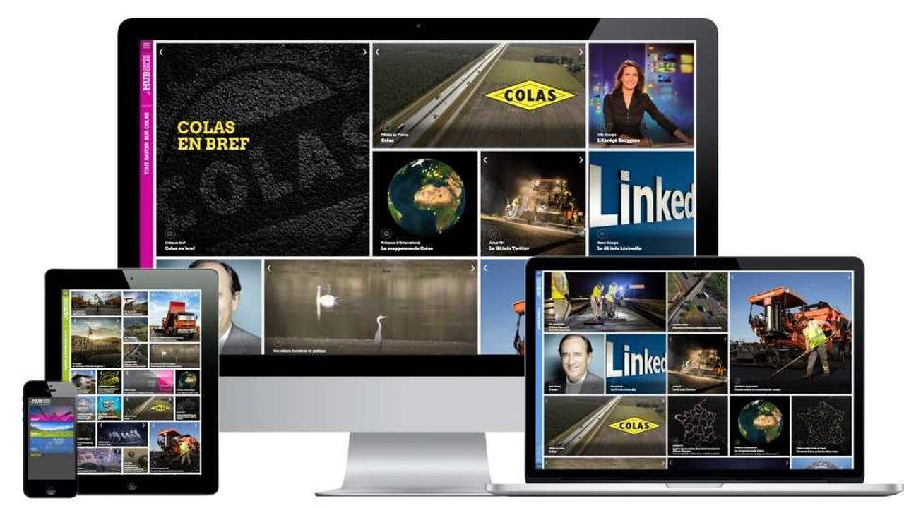 Graphiquement, le Hub Carrière de Colas constitue une interface nourrie de widgets (onglets) indépendants les uns des autres et interactifs; Objectif : réunir les 21 «sites» de recrutement de Colas, des réseaux sociaux à l'espace corportate.