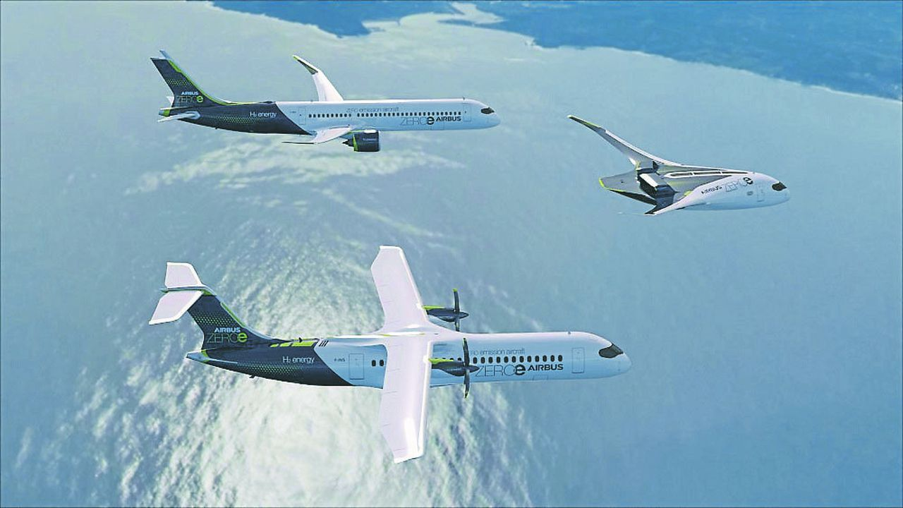 Les trois concepts d'avion à hydrogène d'Airbus: régional, moyen-courrier et à plus longue échéance, l'aile volante long-courrier.