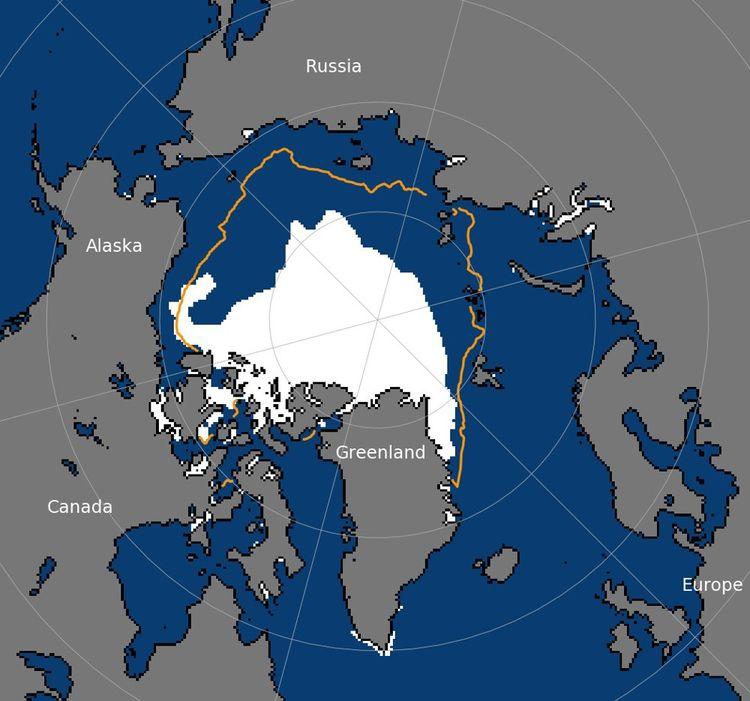L'étendue de la glace de mer arctique au 15septembre 2020 était de 3,74millions de kilomètres carrés. La ligne orange montre l'étendue moyenne de la banquise de 1981 à 2010.