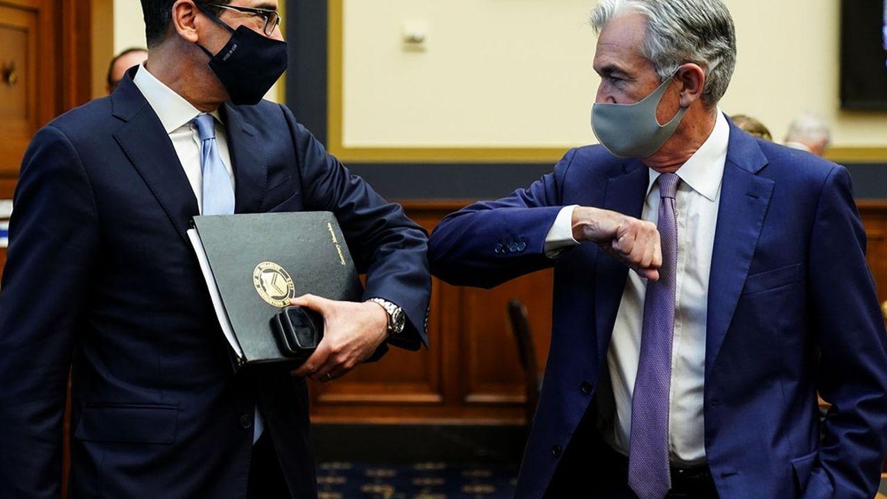 Le secrétaire au Trésor Steven Mnuchin (à gauche) et le président de la Réserve fédérale Jerome Powell étaient auditionnés mardi à la Chambre des représentants.