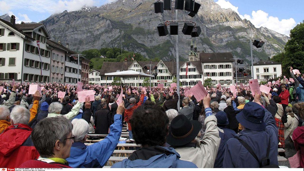 «Votation» populaire à Glaris, Suisse, mai2011.