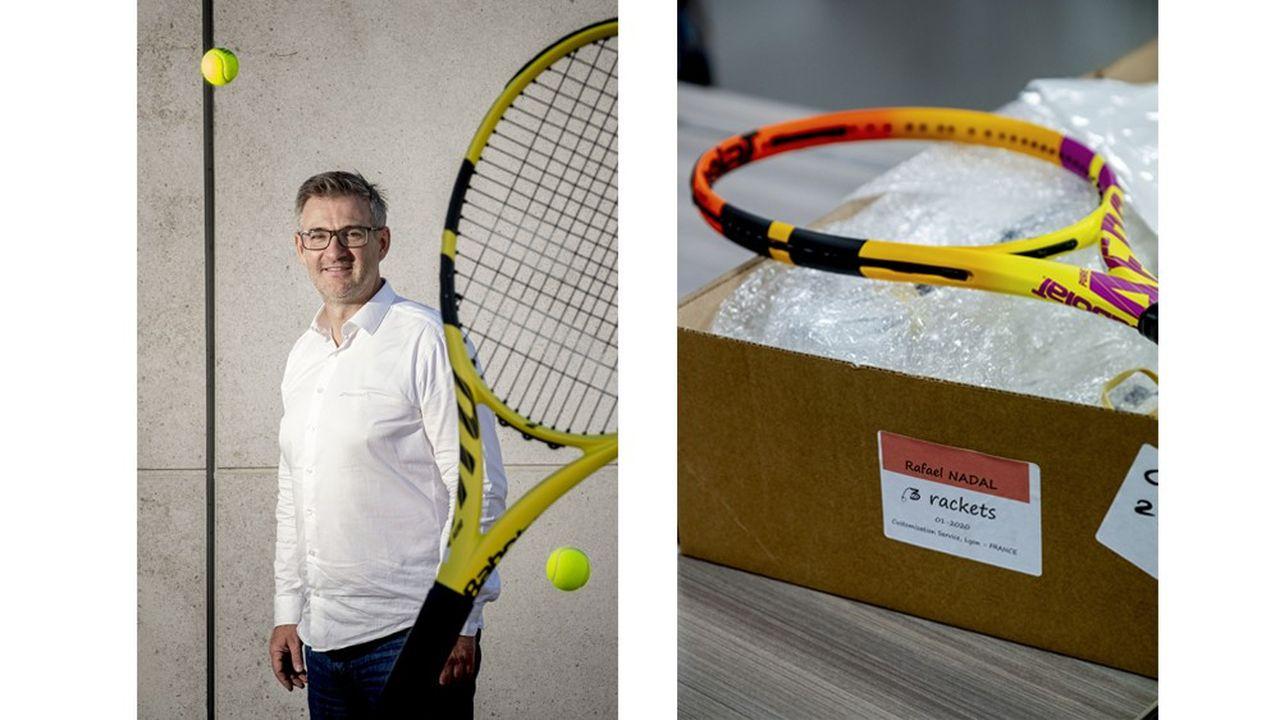 Eric Babolat à la tête de l'entreprise familiale depuis 2001. Une des boîtes avec un jeu de 6 raquettes destinées à Rafael Nadal pour Roland-Garros.