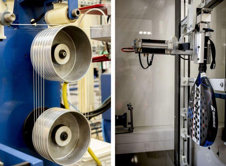 Dans l'usine Babolat de Corbas, le 4 septembre. La fabrication de cordages synthétiques pour raquettes de tennis et test de résistance d'un padel.