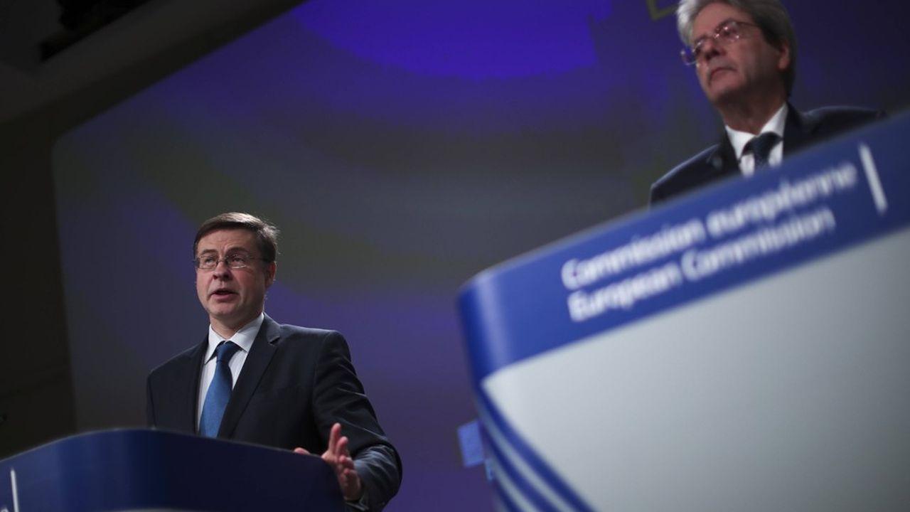 Valdis Dombrovskis (à gauche) et Paolo Gentiloni (à droite), les deux principaux responsables de l'Economie et des Finances à la Commission, ont des doctrines très différentes.