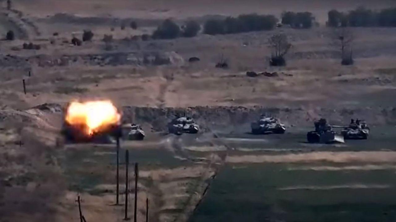 Le ministère de la Défense arménien a diffusé des images de destruction de chars azéris.