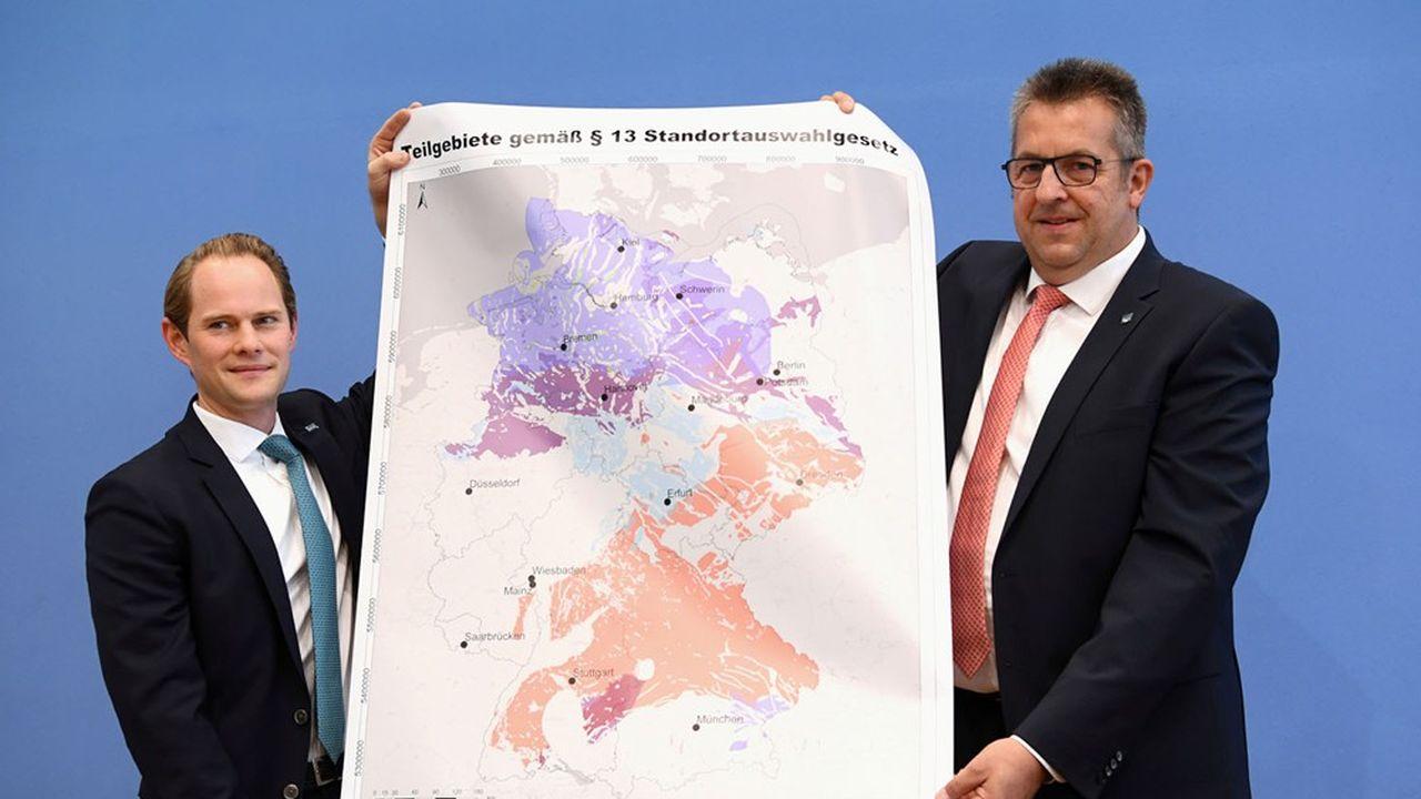 Les dirigeants de la société fédérale de gestion de déchets nucléaires (BGE) ont présenté, ce lundi, la carte des zones éligibles à la création d'un site d'enfouissement de ces résidus radioactifs.