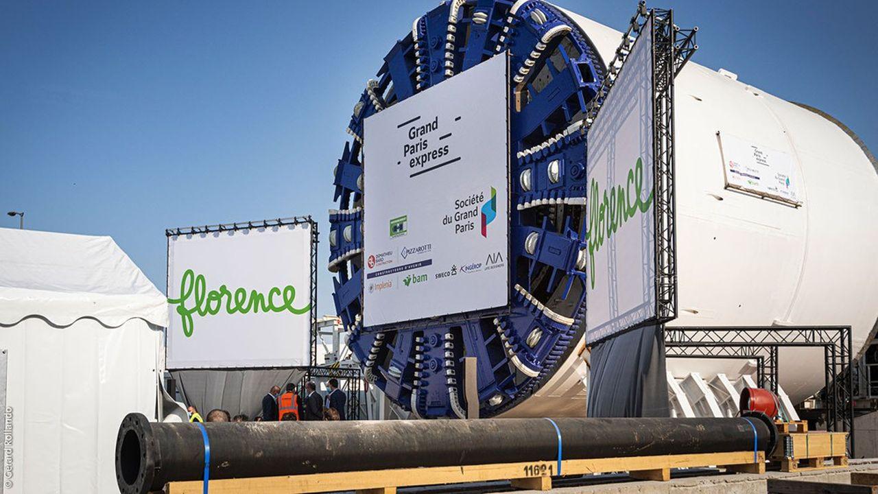 Florence, le premier tunnelier qui doit forer la ligne 17 du métro du Grand Paris a été baptisé le 18septembre.