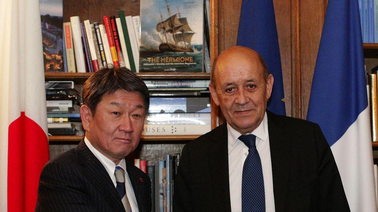 Toshimitsu Motegi le ministre japonais des Affaires étrangères et Jean-Yves Le Drian son homologue français s'étaient déjà rencontrés. Notamment en septembre2019 (notre photo)