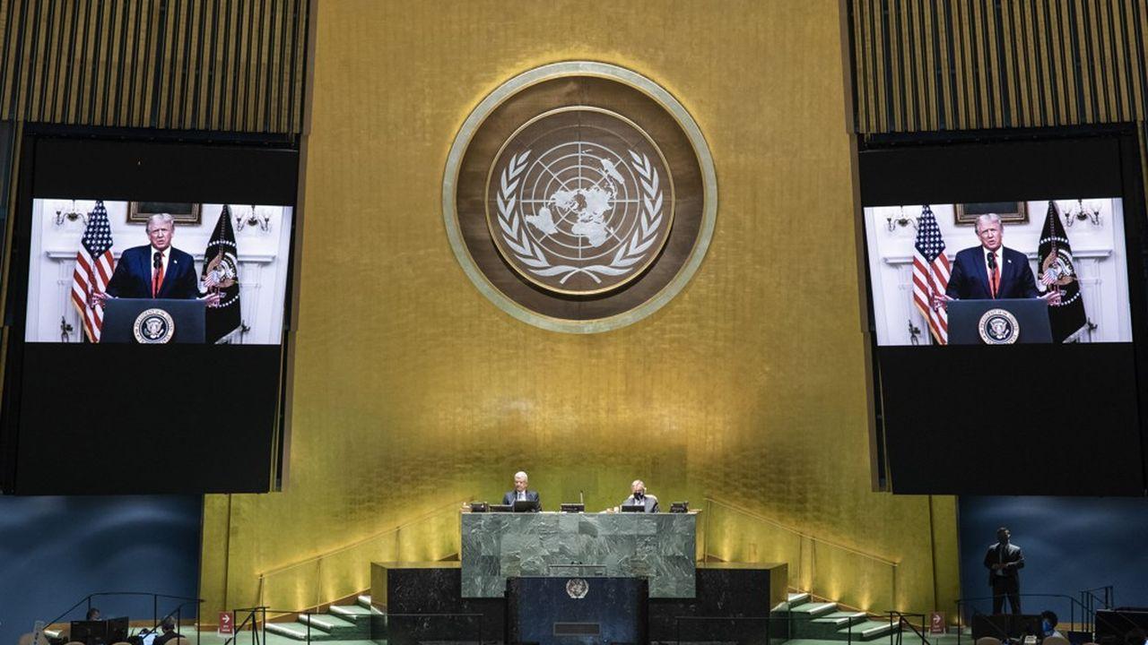 Dans son adresse préenregistrée, le 22septembre 2020, à la 75eAssemblée générale de l'ONU, le président Trump a rendu responsable la Chine de la pandémie du coronavirus.