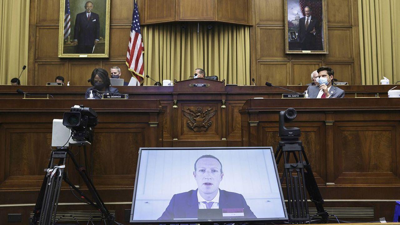 Mark Zuckerberg, le PDG-fondateur de Facebook, lors de l'audition le 29juillet 2020 par le comité de la Chambre des représentants en charge de l'antitrust.