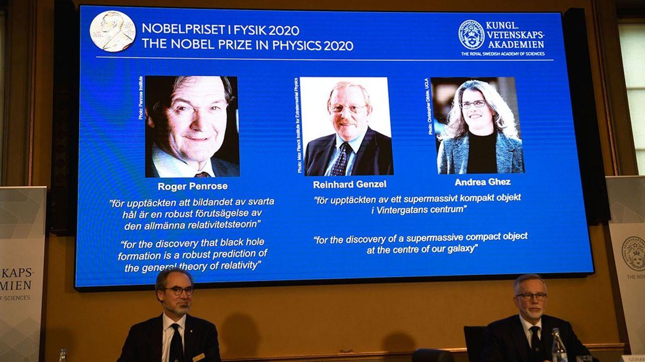 Roger Penrose, Reinhard Genzel et Andrea Ghez ont été récompensés pour leurs travaux, à la frontière des mathématiques et de l'astrophysique, sur les trous noirs.