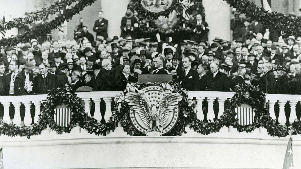 Le 4mars 1933, Franklin D. Roosevelt prêtait serment à un moment charnière de l'histoire de l'Amérique touchée de plein fouet par la Grande Dépression.