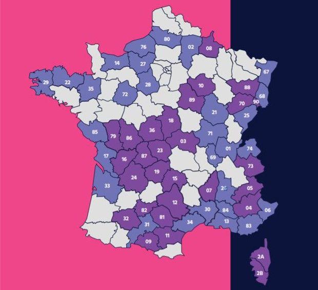 Les circonscriptions de métropole concernées par le renouvellement en 2020.