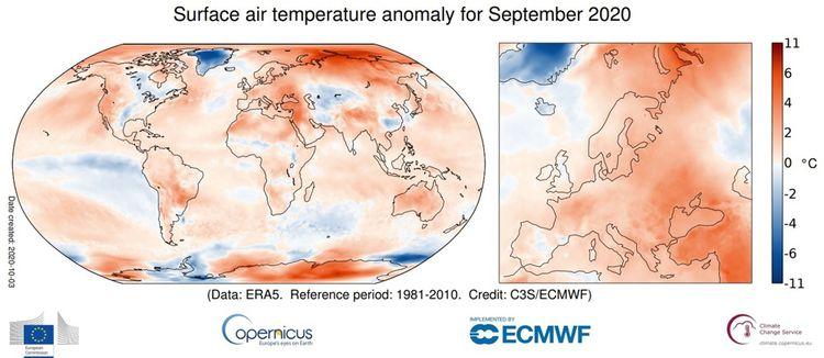 Anomalie de la température de l'air en surface pour septembre2020 par rapport à la moyenne de septembre pour la période 1981-2010.