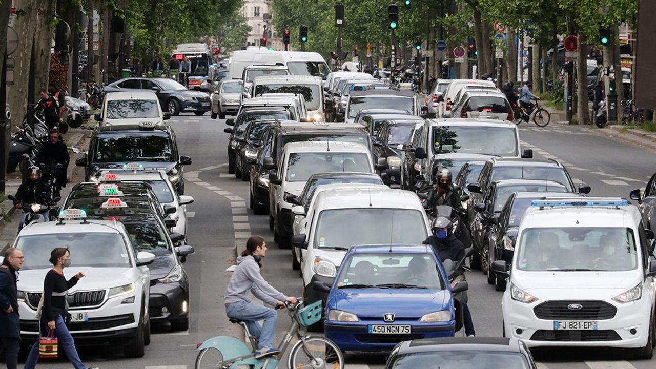 Embouteillage boulevard Beaumarchais à Paris