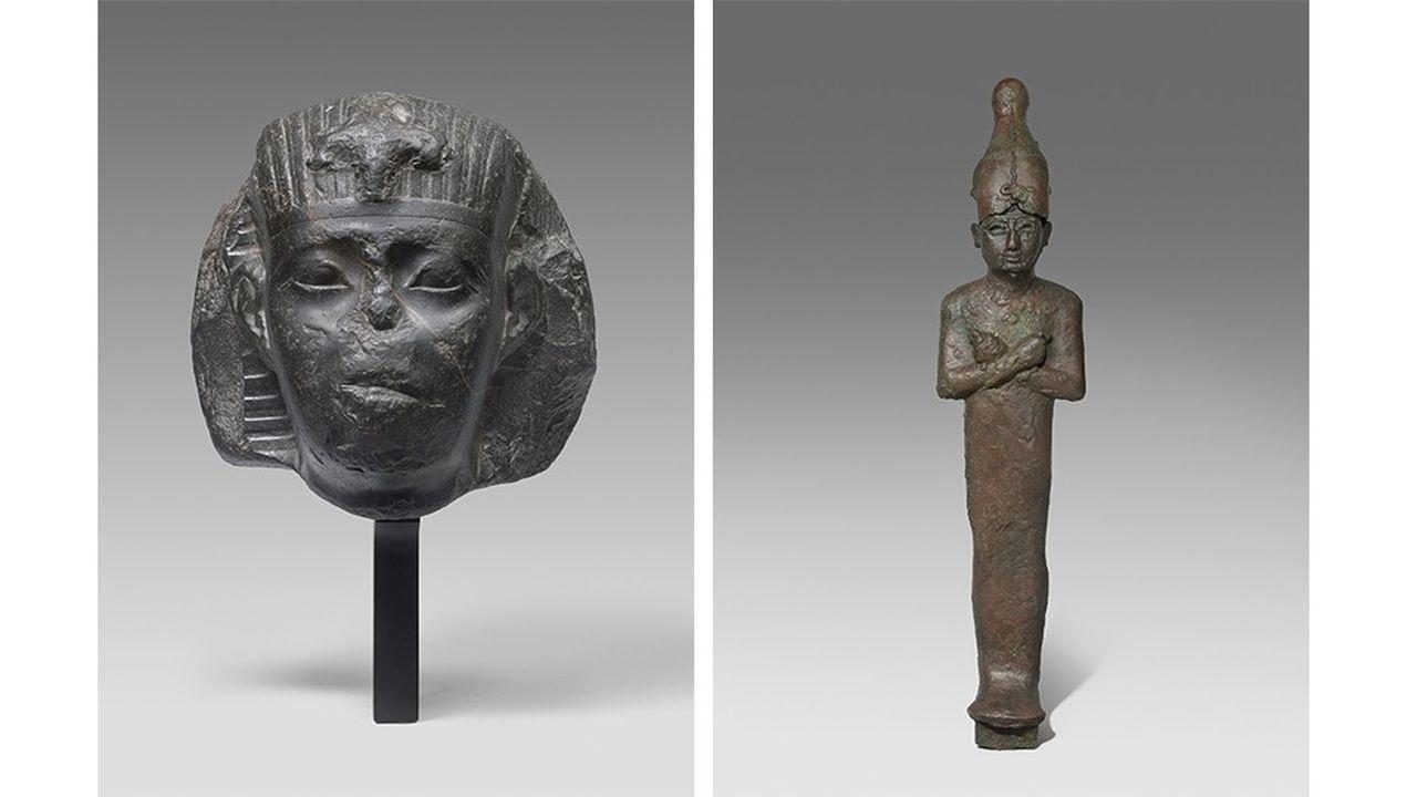 Parmi les trésors du musée Granet, à Aix-en-Provence, une tête d'un pharaon attribuée à Apriès (589-570 avant J.-C.) et une statue d'Osiris (VIIIe-VIe siècle avant J.-C.).
