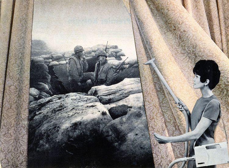 Cleaning the Drapes, 1943. Photomontage de Martha Rosler de la série «Bringing the War Home» (1967-72).