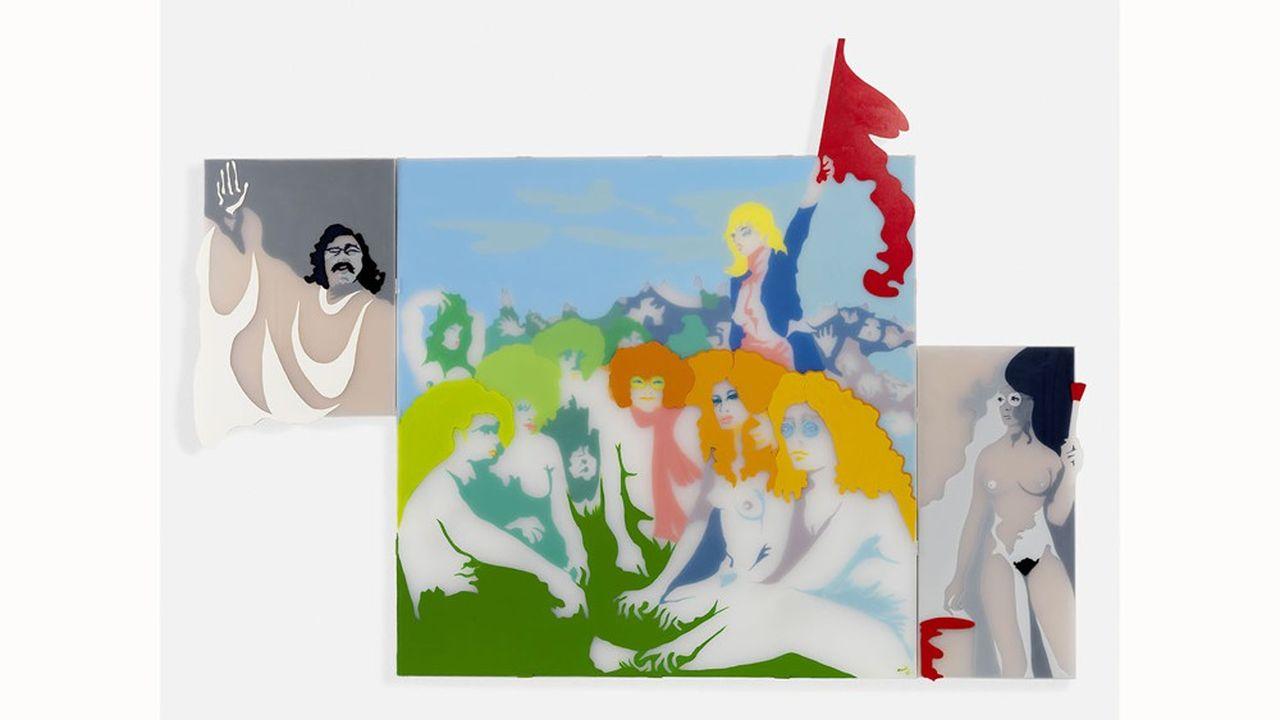 «Le joli mois de mai», triptyque sur plexiglas d'Evelyne Axell (1970).