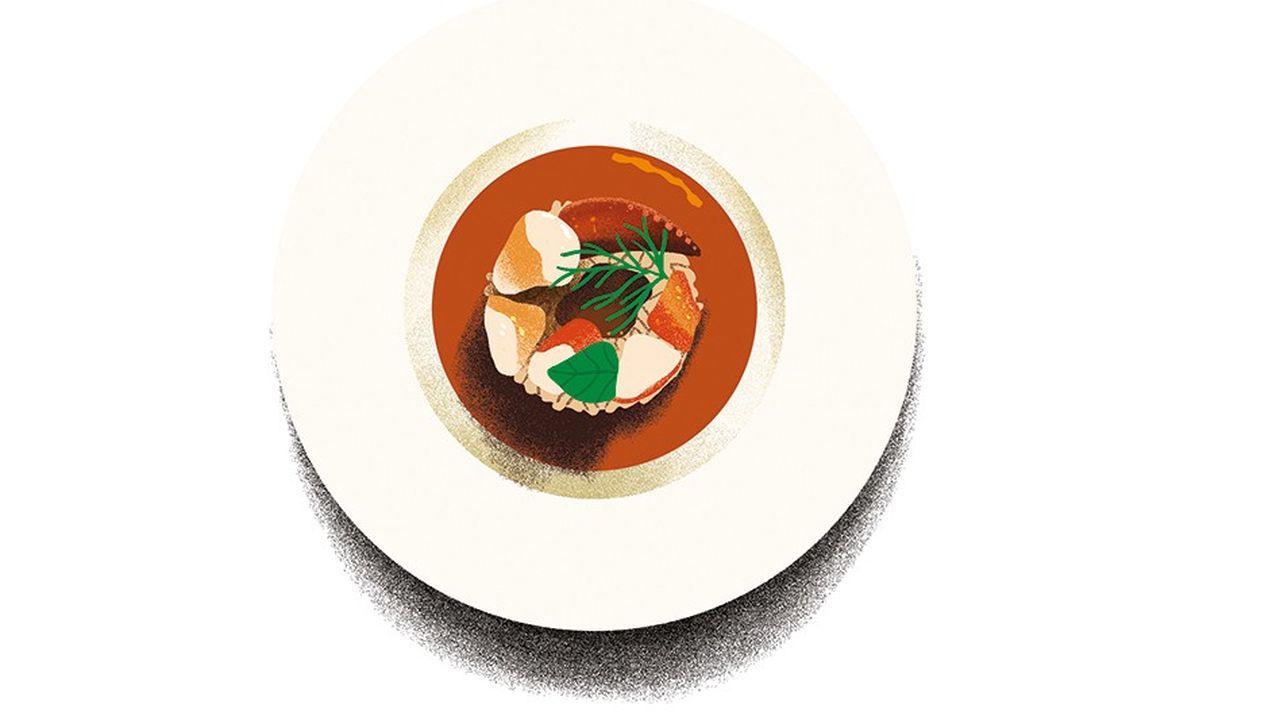 Semoule de couscous coiffée de homard et baignée d'un gaspacho de tomates San Marzano, une entrée audacieuse et réussie.