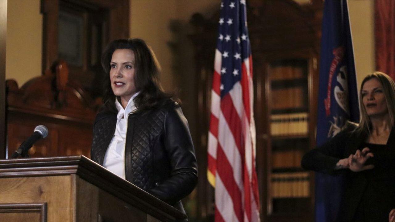 Lors d'une conférence de presse, Gretchen Whitmer a accusé Donald Trump d'encourager les groupes extrémistes comme les Wolverine Watchmen.