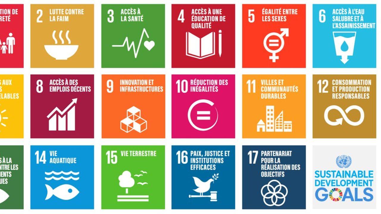 Les 17 objectifs du développement durable définis par l'ONU.