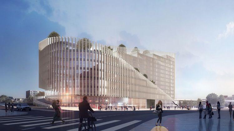 L'immeuble ShaKe est en cours de construction à Lille au coeur du quartier d'affaires Euralille.