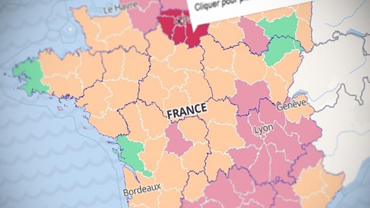 Carte du taux de positivité au coronavirus en France au 12octobre 2020.