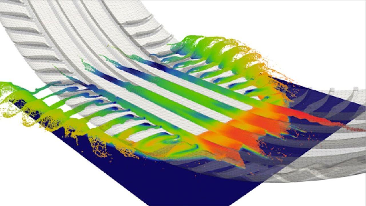 La simulation des sculptures d'un pneu permet de prévoir l'écoulement de l'eau et donc de prévenir l'aquaplanage, tout en tenant compte de la déformation du pneu.