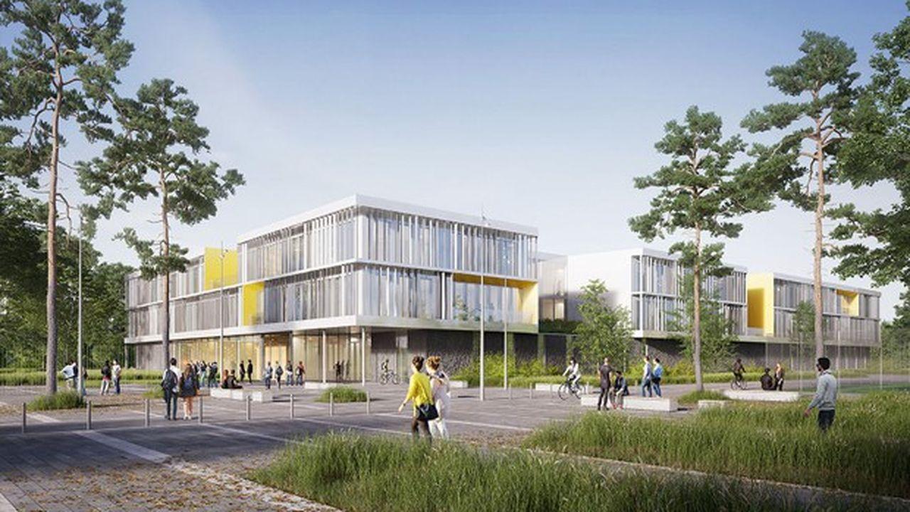 Un atrium central en triple hauteur distribuera les grands secteurs du futur lycée de Cormeilles-en-Parisis (95).