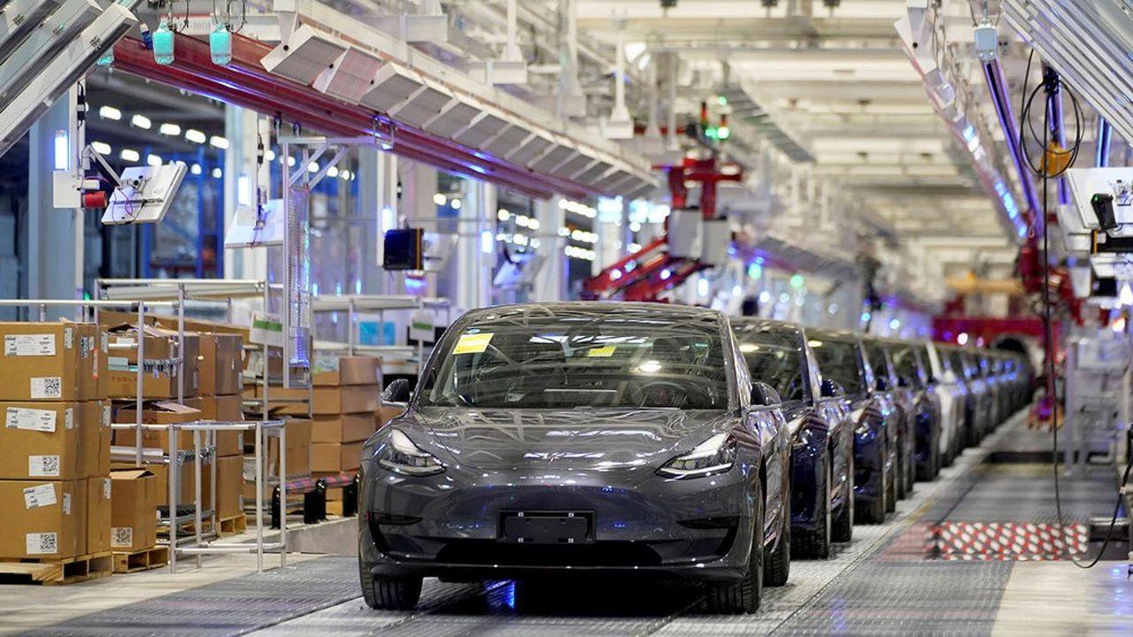 Usine de Tesla à Shanghai, janvier, 2020.