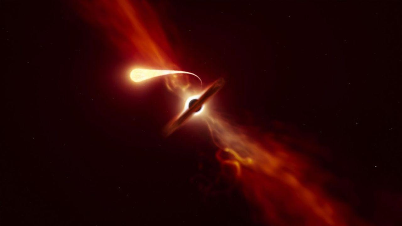 Tirée d'une animation d'artiste accompagnant la publication de l'ESO, cette image montre le processus de spaghettification d'une étoile par un trou noir.