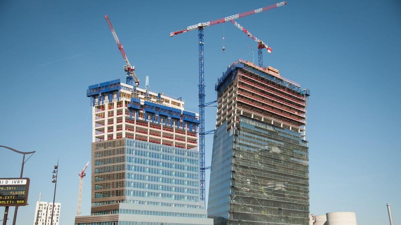 Le chantier des tours Duo à Paris, ici il y a quelques semaines.