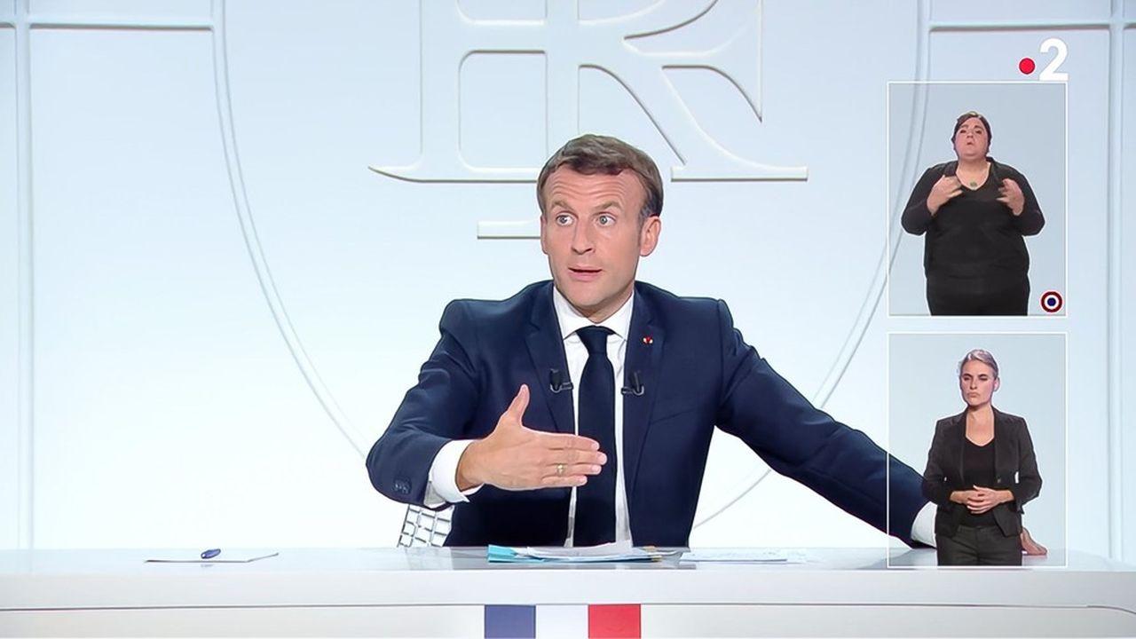 Emmanuel Macron à la télévision, la semaine dernière.