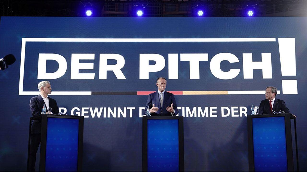 Norbert Röttgen, Friedrich Merz et Armin Laschet ont chacun défendu samedi leur cause devant les jeunes membres de la CDU.